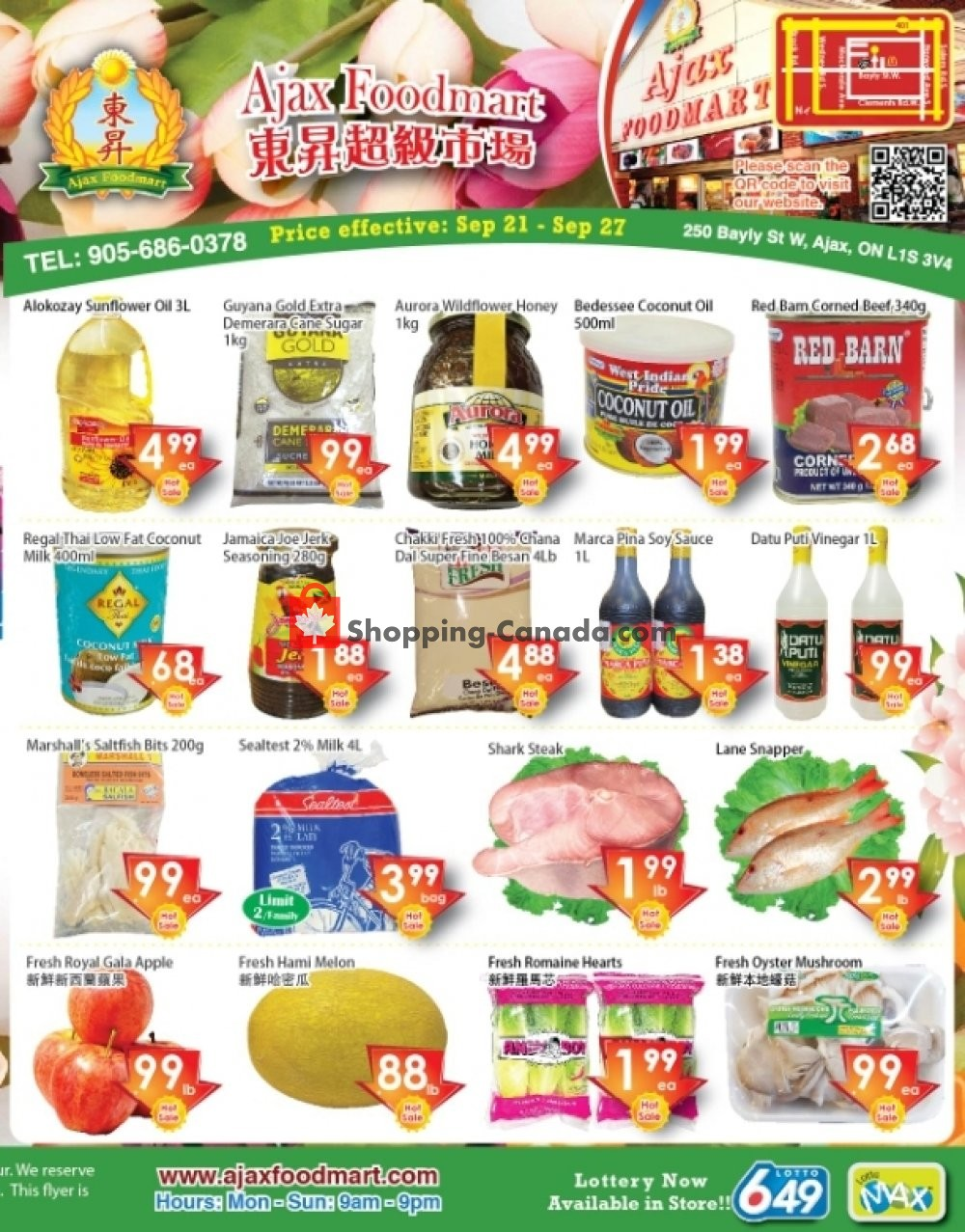 Flyer Ajax Foodmart Canada - from Friday September 21, 2018 to Thursday September 27, 2018