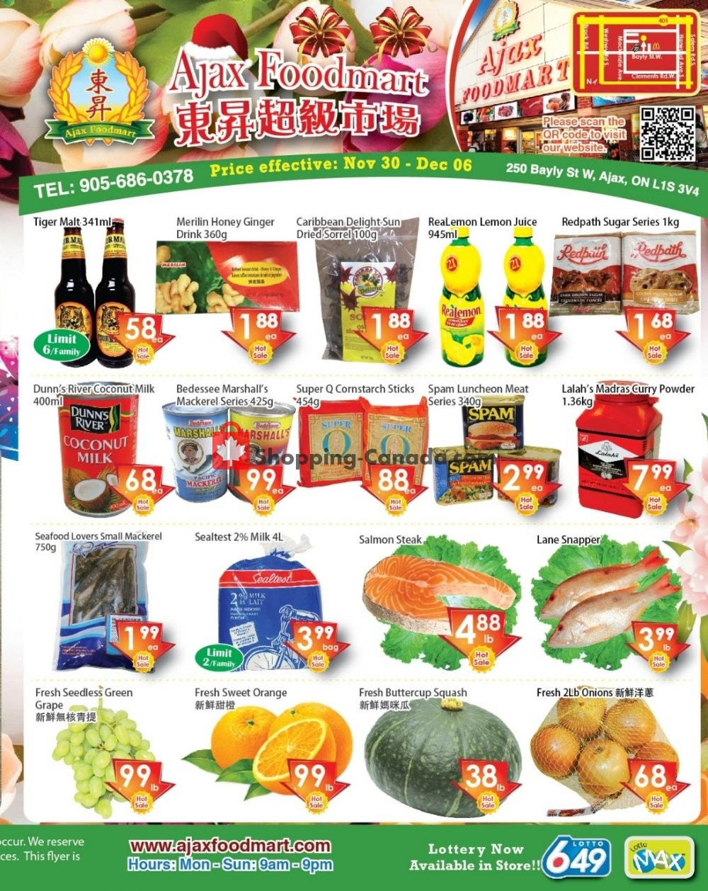 Flyer Ajax Foodmart Canada - from Friday November 30, 2018 to Thursday December 6, 2018