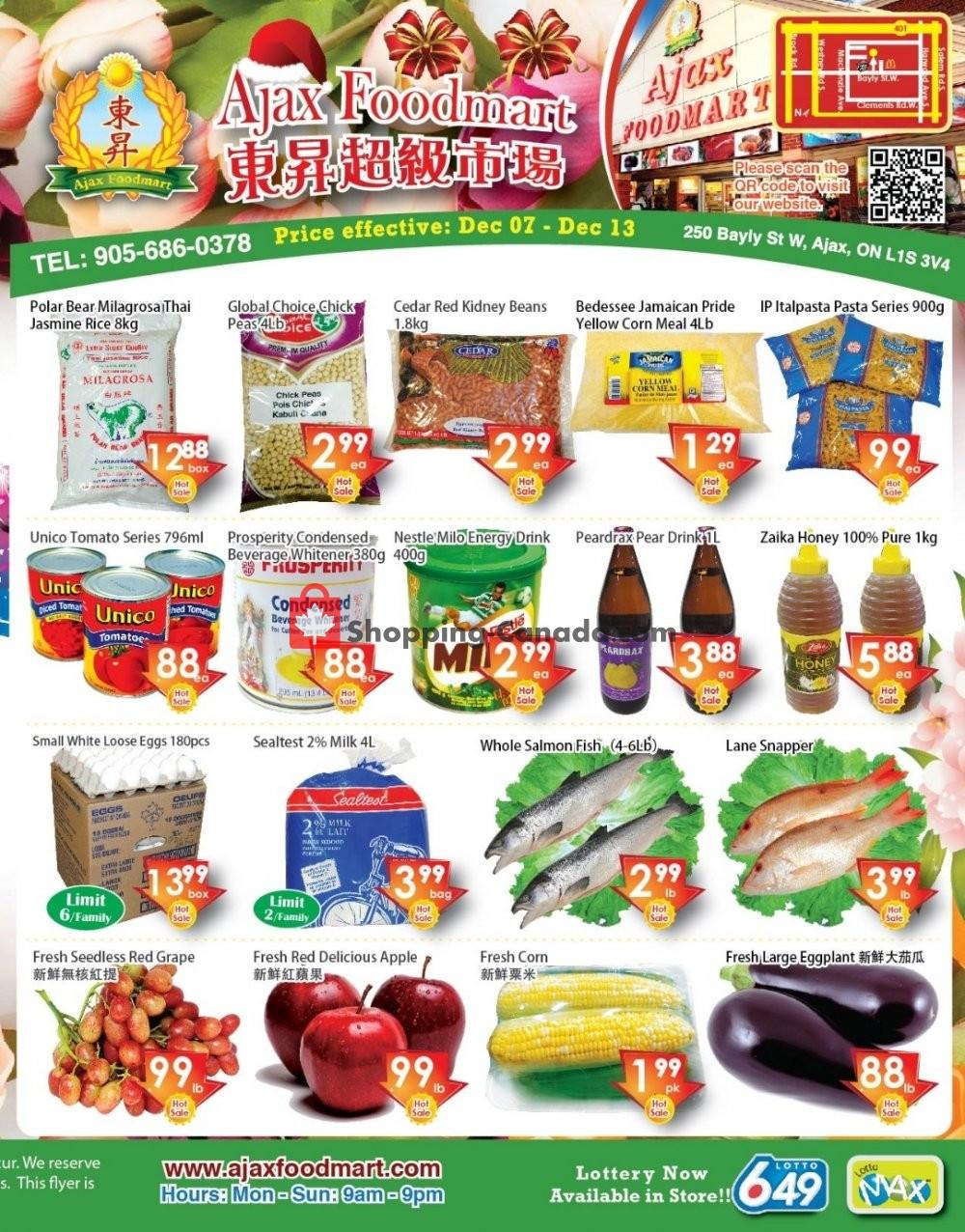 Flyer Ajax Foodmart Canada - from Friday December 7, 2018 to Thursday December 13, 2018