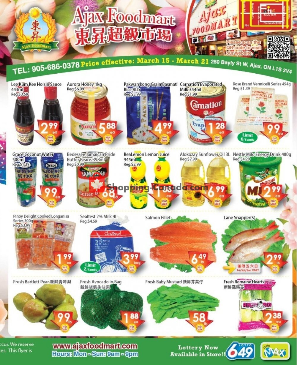 Flyer Ajax Foodmart Canada - from Friday March 15, 2019 to Thursday March 21, 2019
