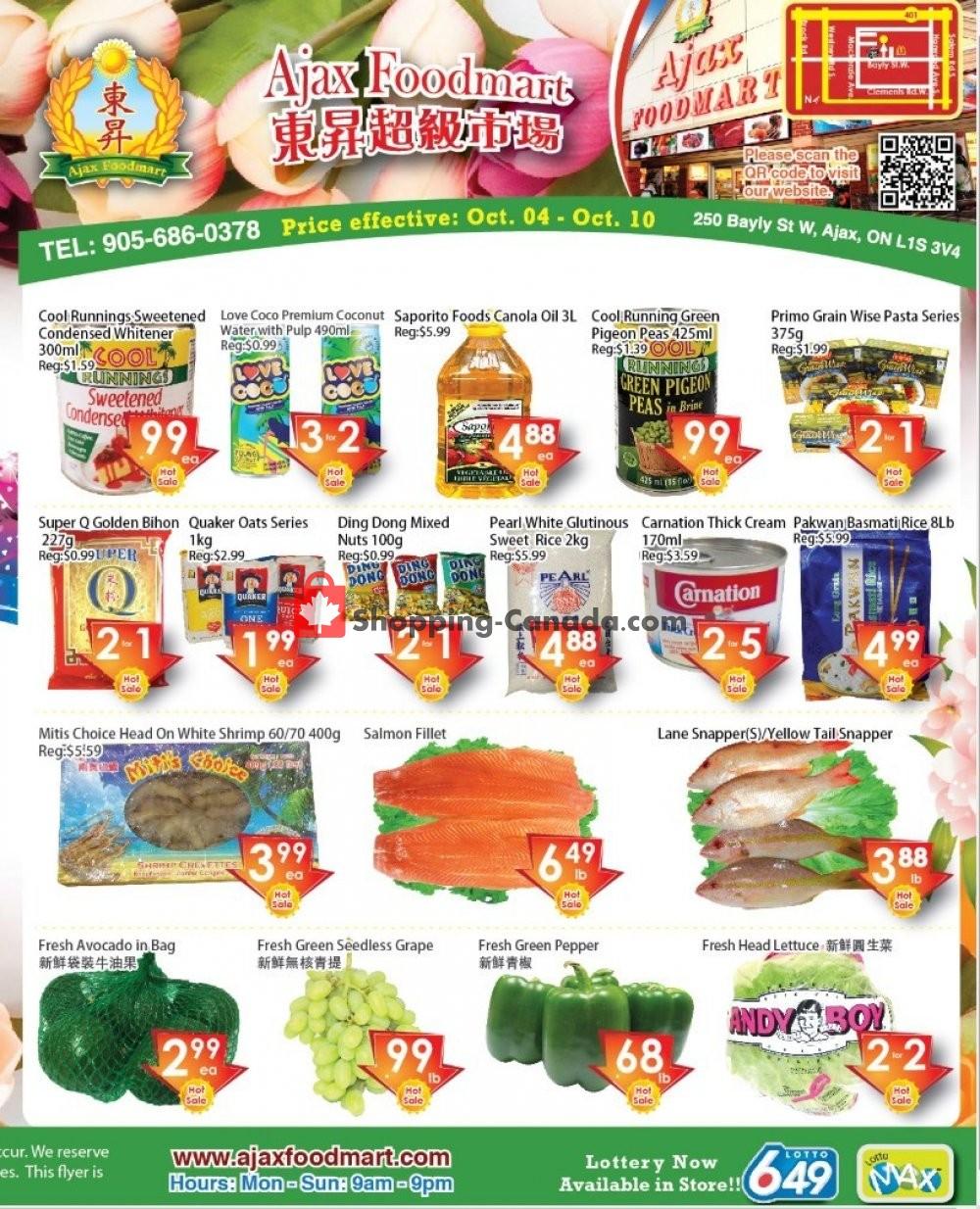 Flyer Ajax Foodmart Canada - from Friday October 4, 2019 to Thursday October 10, 2019