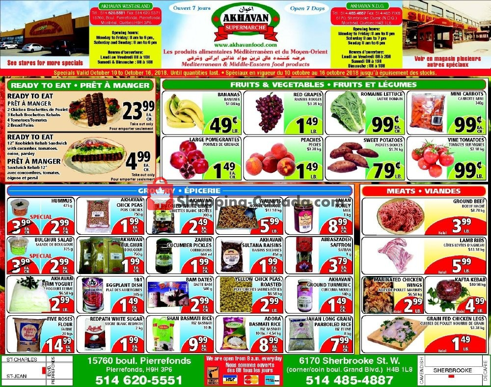 Flyer Akhavan Food Supermarche Canada - from Wednesday October 10, 2018 to Tuesday October 16, 2018