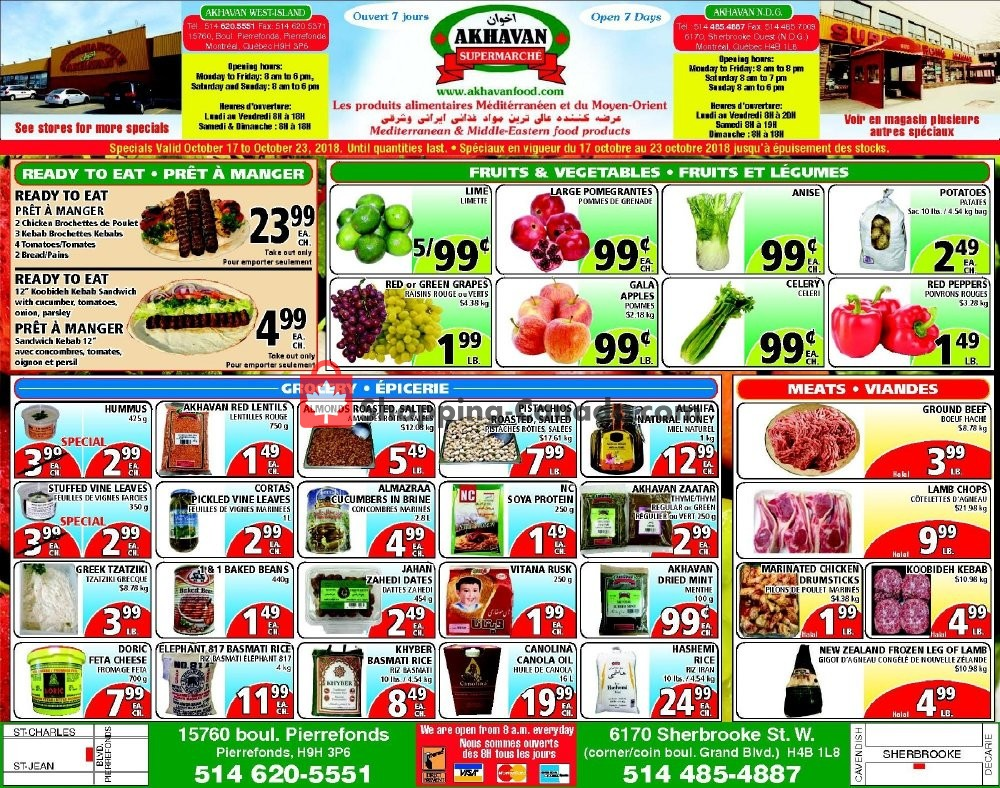 Flyer Akhavan Food Supermarche Canada - from Wednesday October 17, 2018 to Tuesday October 23, 2018