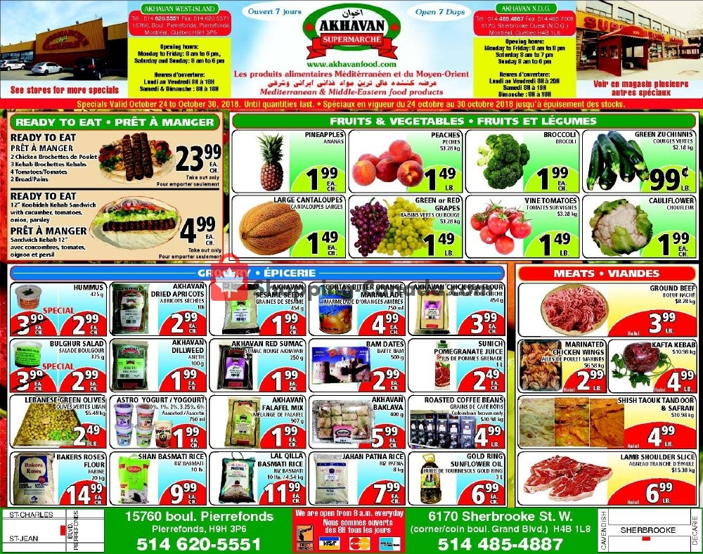 Flyer Akhavan Food Supermarche Canada - from Wednesday October 24, 2018 to Tuesday October 30, 2018