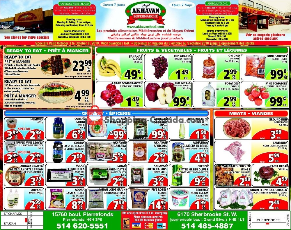 Flyer Akhavan Food Supermarche Canada - from Wednesday October 3, 2018 to Tuesday October 9, 2018