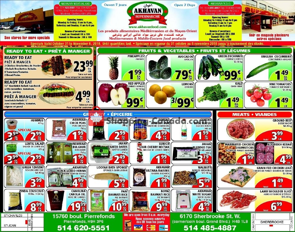 Flyer Akhavan Food Supermarche Canada - from Wednesday October 31, 2018 to Tuesday November 6, 2018