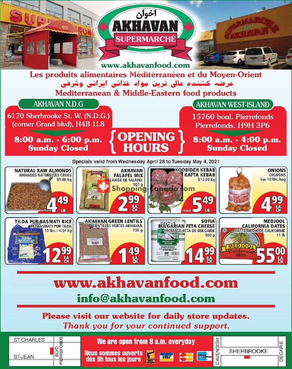 Flyer Akhavan Food Supermarche Canada - from Wednesday April 28, 2021 to Tuesday May 4, 2021