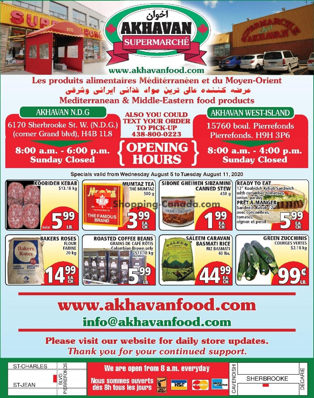 Flyer Akhavan Food Supermarche Canada - from Wednesday August 5, 2020 to Tuesday August 11, 2020