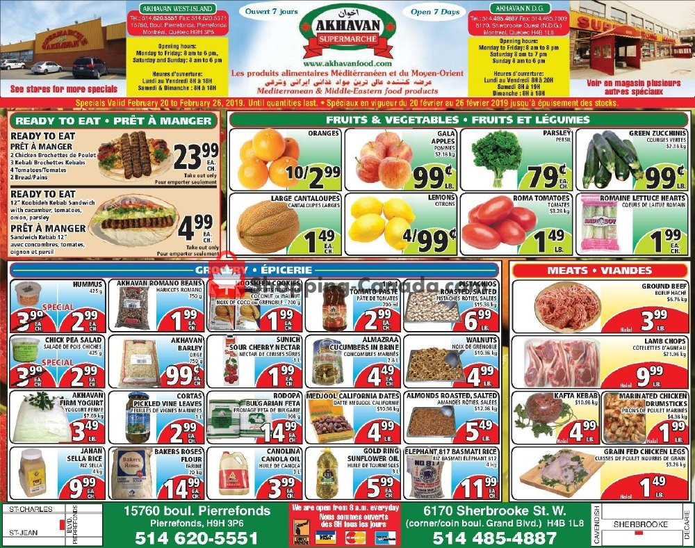 Flyer Akhavan Food Supermarche Canada - from Wednesday February 20, 2019 to Tuesday February 26, 2019