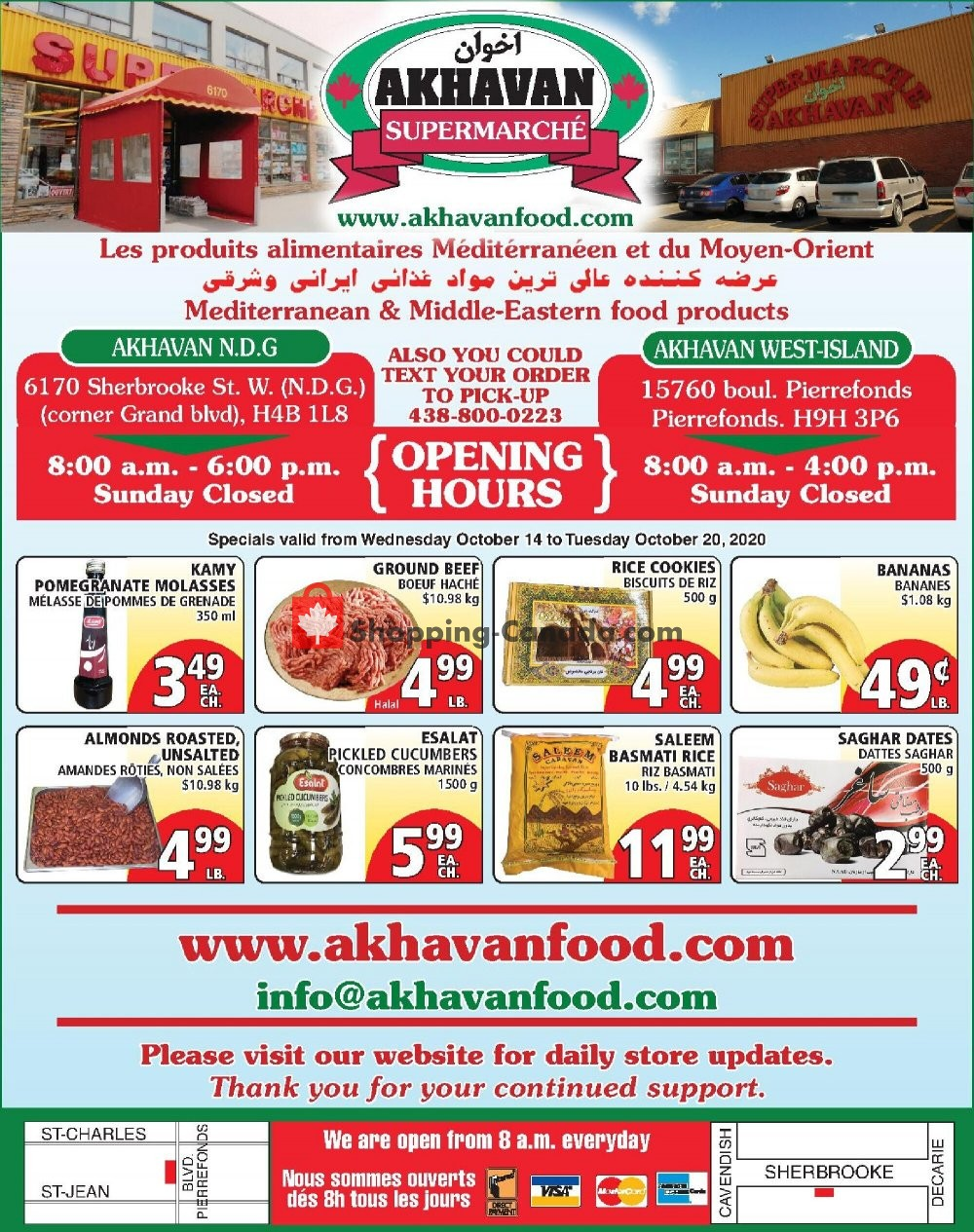 Flyer Akhavan Food Supermarche Canada - from Wednesday October 14, 2020 to Tuesday October 20, 2020