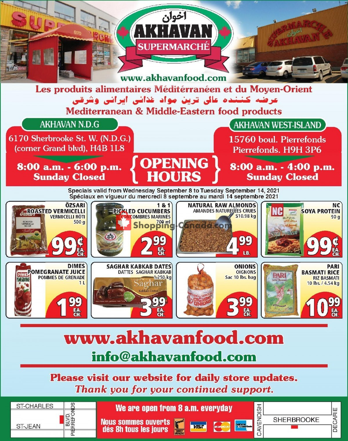 Flyer Akhavan Food Supermarche Canada - from Wednesday September 8, 2021 to Tuesday September 14, 2021