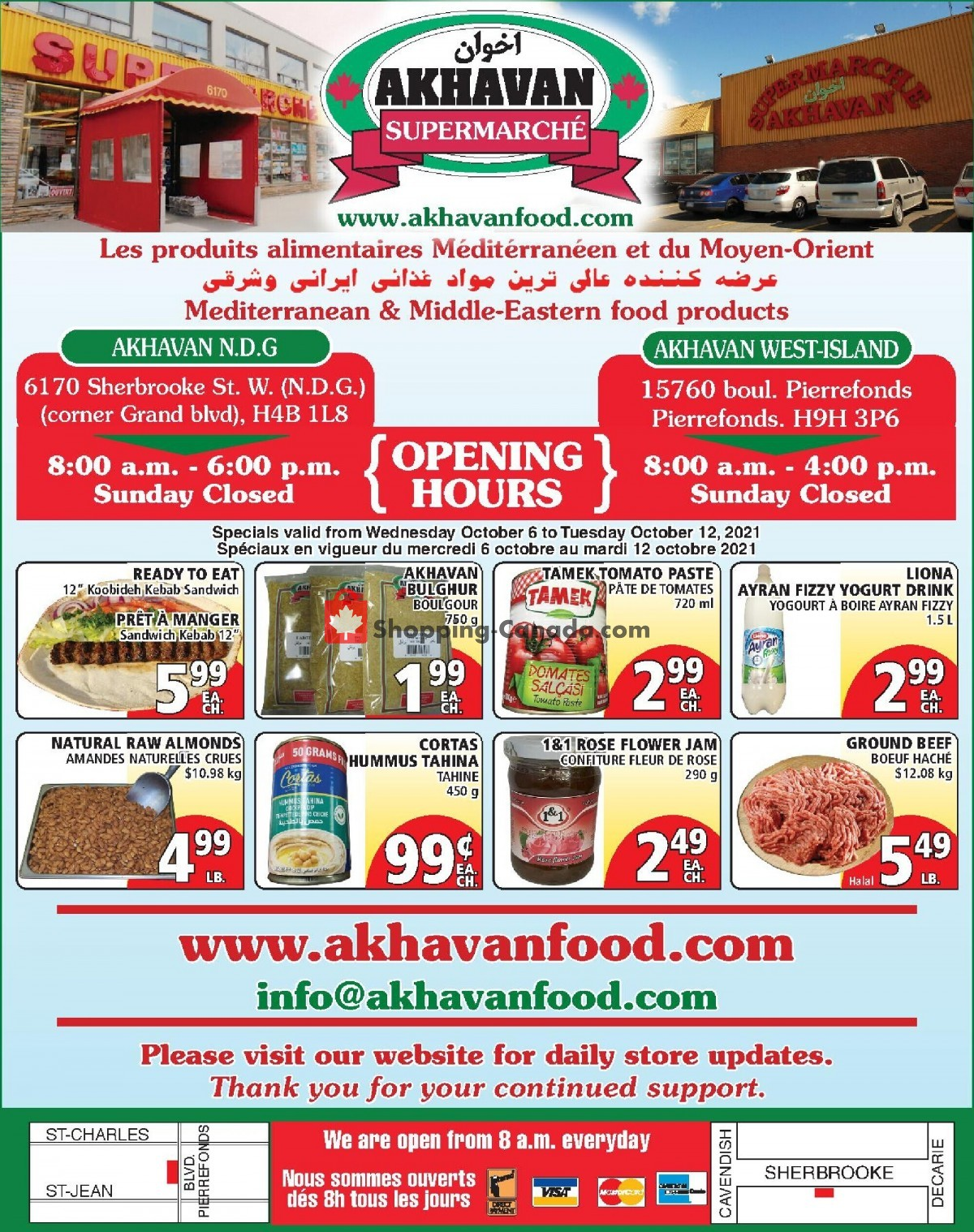 Flyer Akhavan Food Supermarche Canada - from Wednesday October 6, 2021 to Tuesday October 12, 2021
