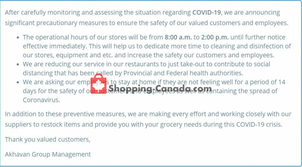 Flyer Akhavan Food Supermarche Canada - from Monday April 20, 2020 to Sunday May 10, 2020