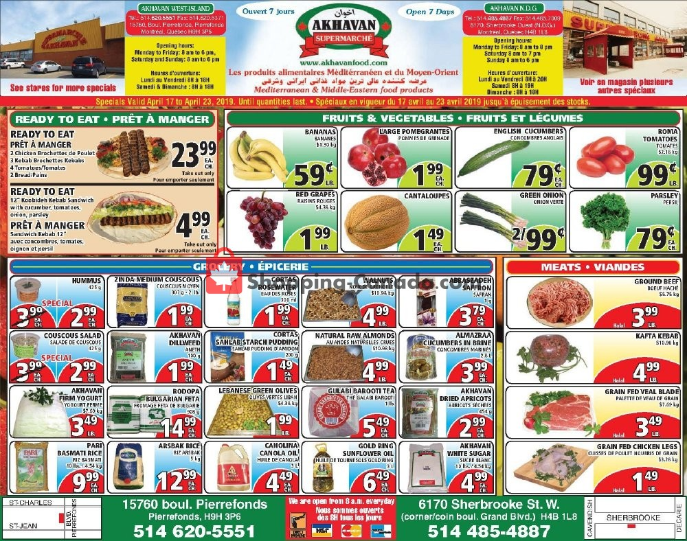 Flyer Akhavan Food Supermarche Canada - from Wednesday April 17, 2019 to Tuesday April 23, 2019