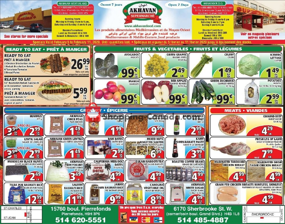 Flyer Akhavan Food Supermarche Canada - from Wednesday February 5, 2020 to Tuesday February 11, 2020