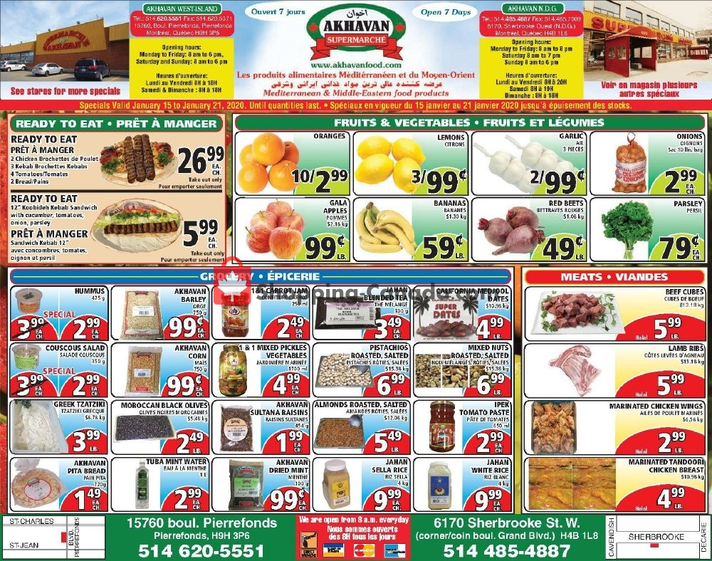 Flyer Akhavan Food Supermarche Canada - from Wednesday January 15, 2020 to Tuesday January 21, 2020