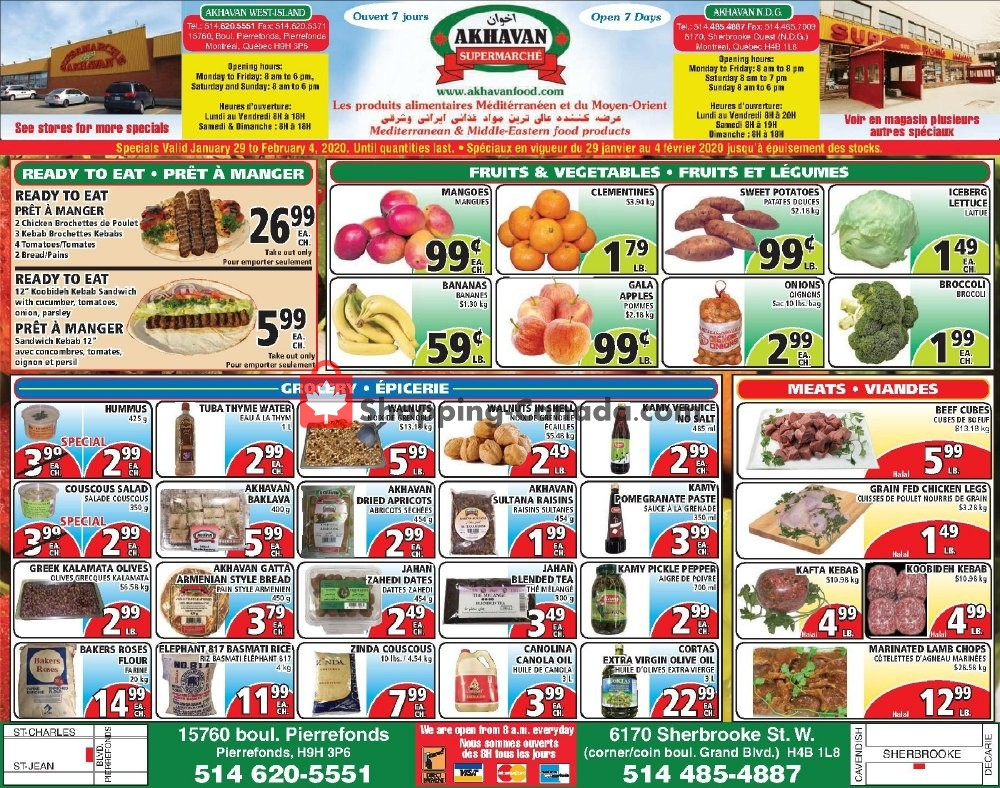 Flyer Akhavan Food Supermarche Canada - from Wednesday January 29, 2020 to Tuesday February 4, 2020