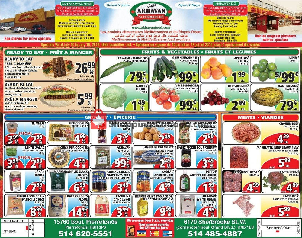Flyer Akhavan Food Supermarche Canada - from Wednesday July 10, 2019 to Tuesday July 16, 2019