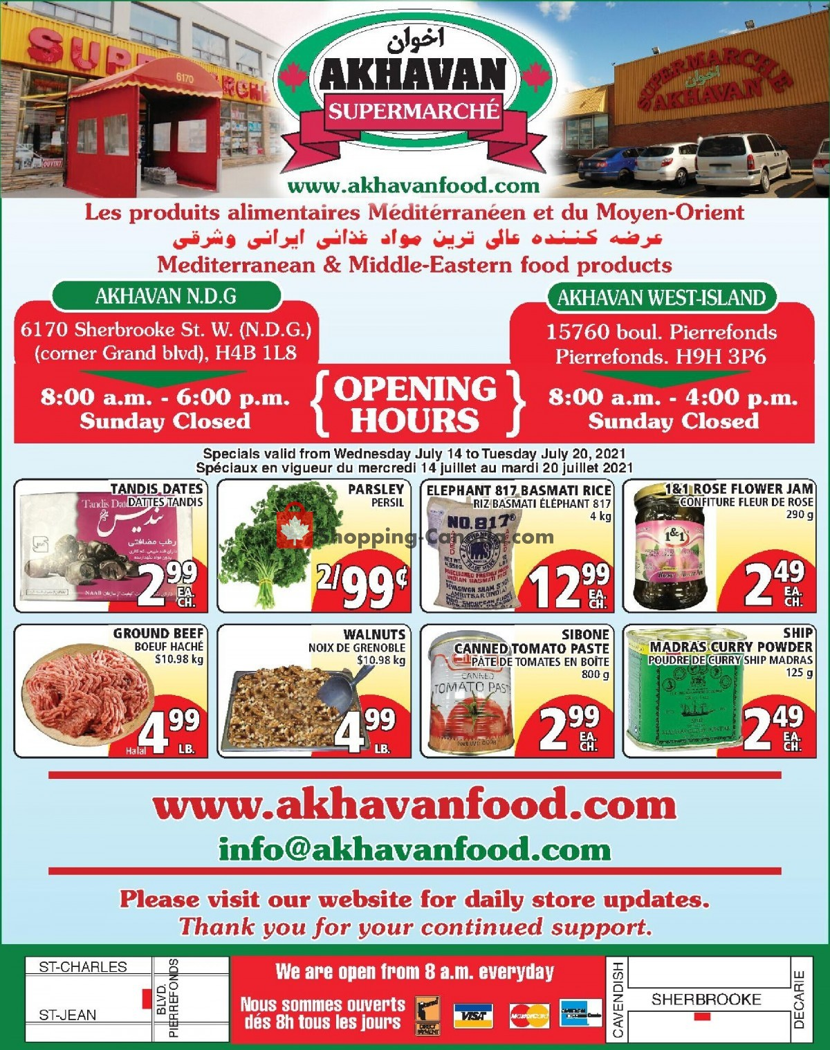 Flyer Akhavan Food Supermarche Canada - from Wednesday July 14, 2021 to Tuesday July 20, 2021