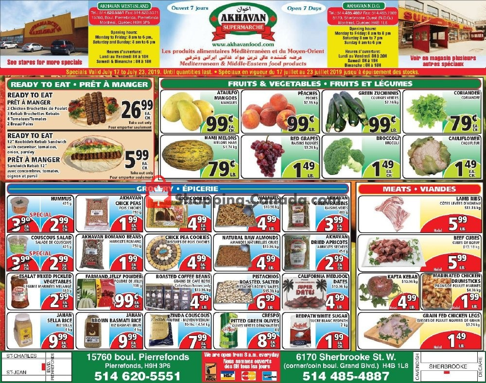 Flyer Akhavan Food Supermarche Canada - from Wednesday July 17, 2019 to Tuesday July 23, 2019