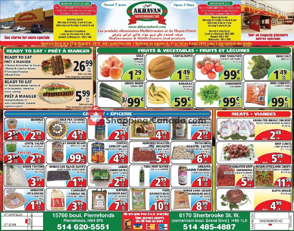 Flyer Akhavan Food Supermarche Canada - from Wednesday July 31, 2019 to Tuesday August 6, 2019