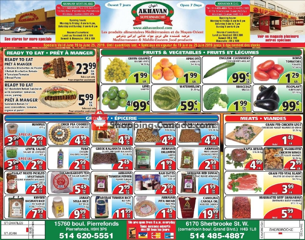 Flyer Akhavan Food Supermarche Canada - from Wednesday June 19, 2019 to Tuesday June 25, 2019