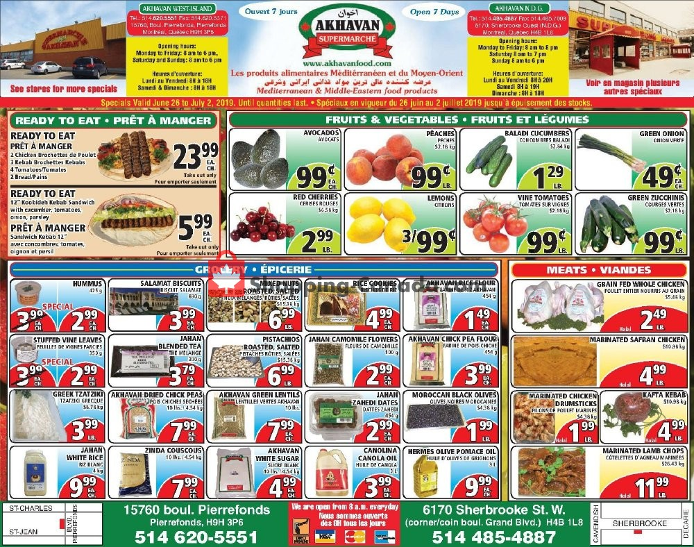 Flyer Akhavan Food Supermarche Canada - from Wednesday June 26, 2019 to Tuesday July 2, 2019