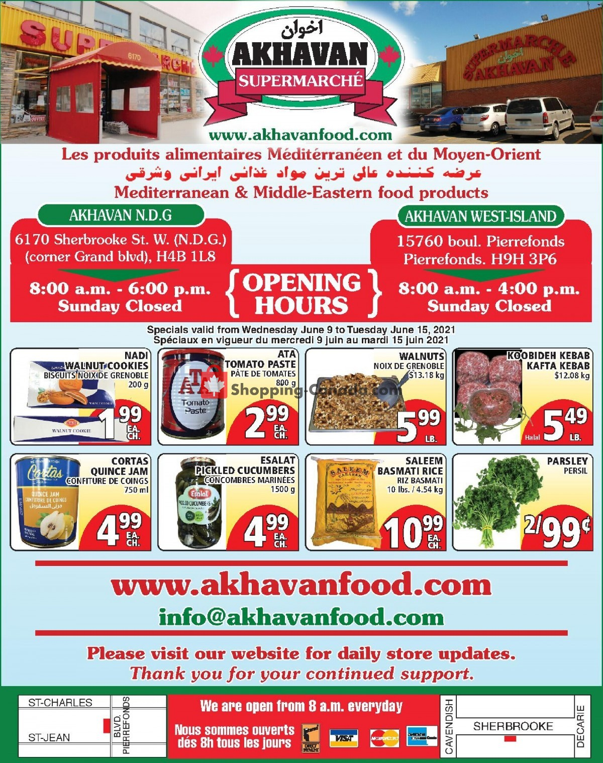 Flyer Akhavan Food Supermarche Canada - from Wednesday June 9, 2021 to Tuesday June 15, 2021