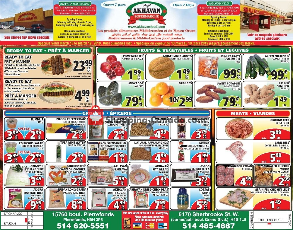 Flyer Akhavan Food Supermarche Canada - from Wednesday March 13, 2019 to Tuesday March 19, 2019