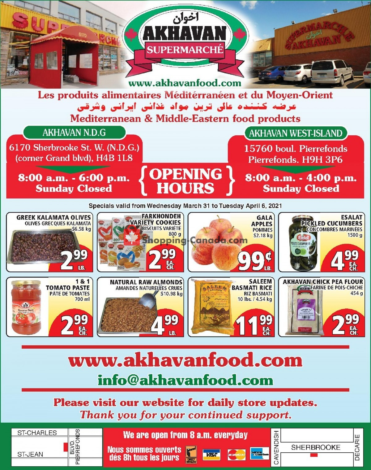 Flyer Akhavan Food Supermarche Canada - from Wednesday March 31, 2021 to Tuesday April 6, 2021