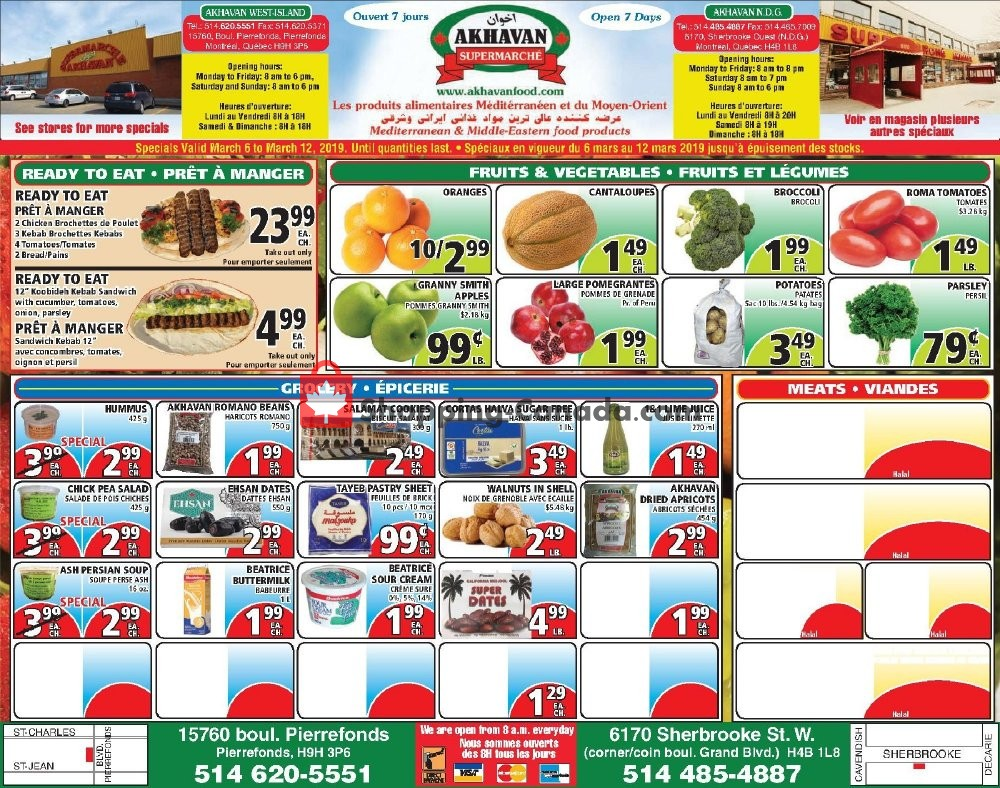 Flyer Akhavan Food Supermarche Canada - from Wednesday March 6, 2019 to Tuesday March 12, 2019