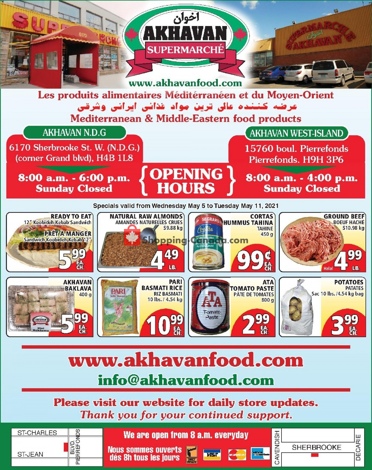 Flyer Akhavan Food Supermarche Canada - from Wednesday May 5, 2021 to Tuesday May 11, 2021