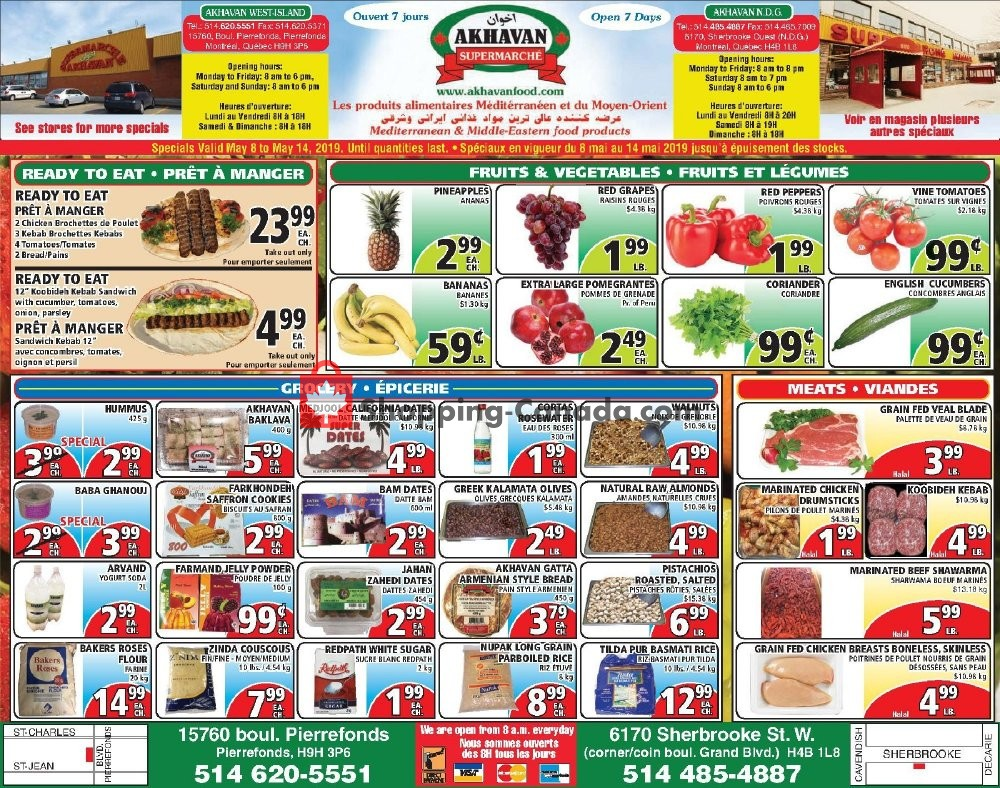 Flyer Akhavan Food Supermarche Canada - from Wednesday May 8, 2019 to Tuesday May 14, 2019