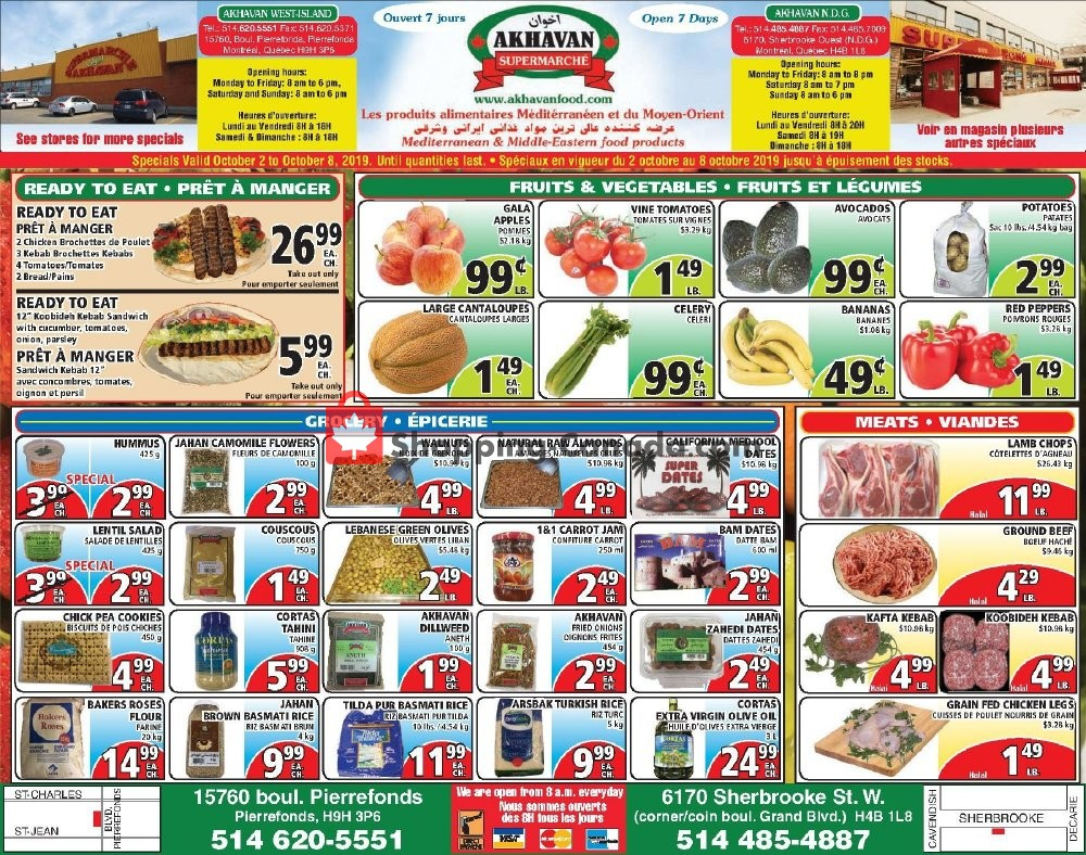 Flyer Akhavan Food Supermarche Canada - from Wednesday October 2, 2019 to Tuesday October 8, 2019