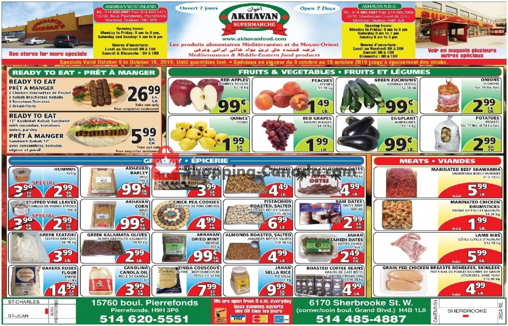 Flyer Akhavan Food Supermarche Canada - from Wednesday October 9, 2019 to Tuesday October 15, 2019