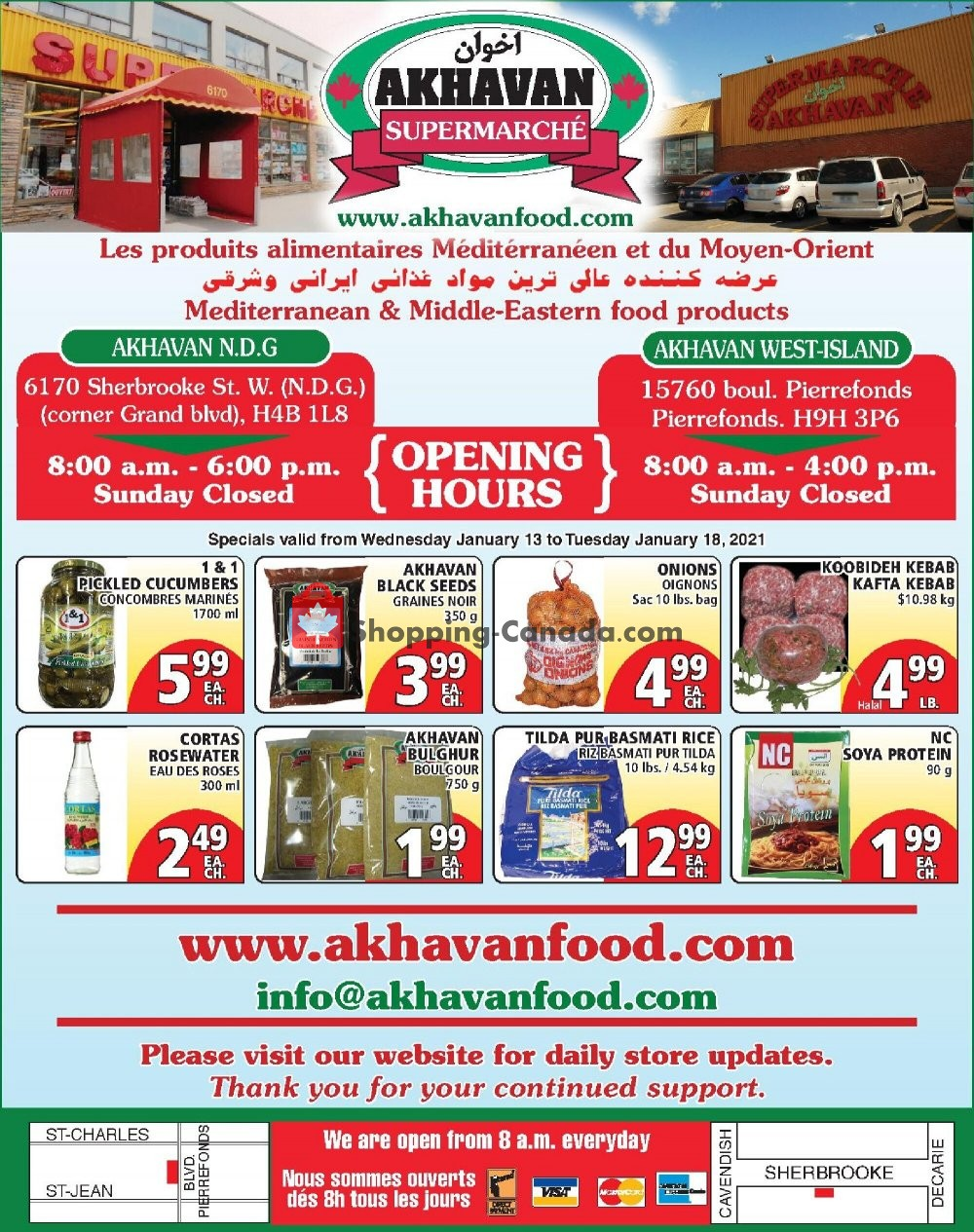 Flyer Akhavan Food Supermarche Canada - from Wednesday January 13, 2021 to Monday January 18, 2021