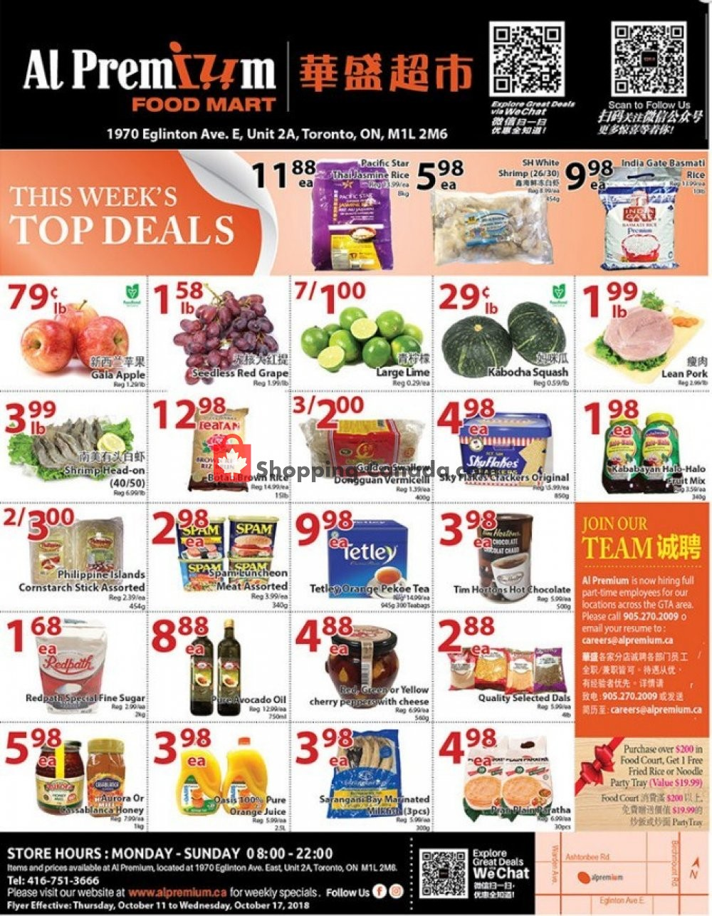 Flyer Al Premium Food Mart Canada - from Thursday October 11, 2018 to Wednesday October 17, 2018