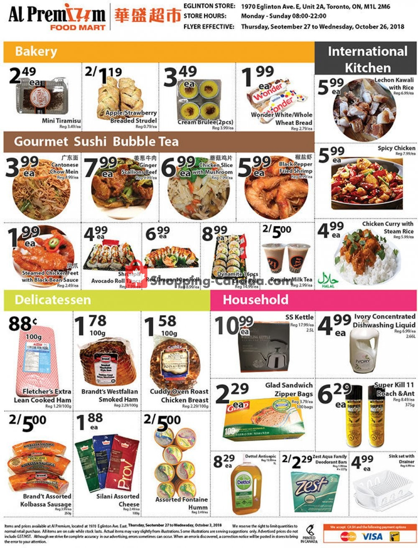 Flyer Al Premium Food Mart Canada - from Thursday September 27, 2018 to Friday October 26, 2018