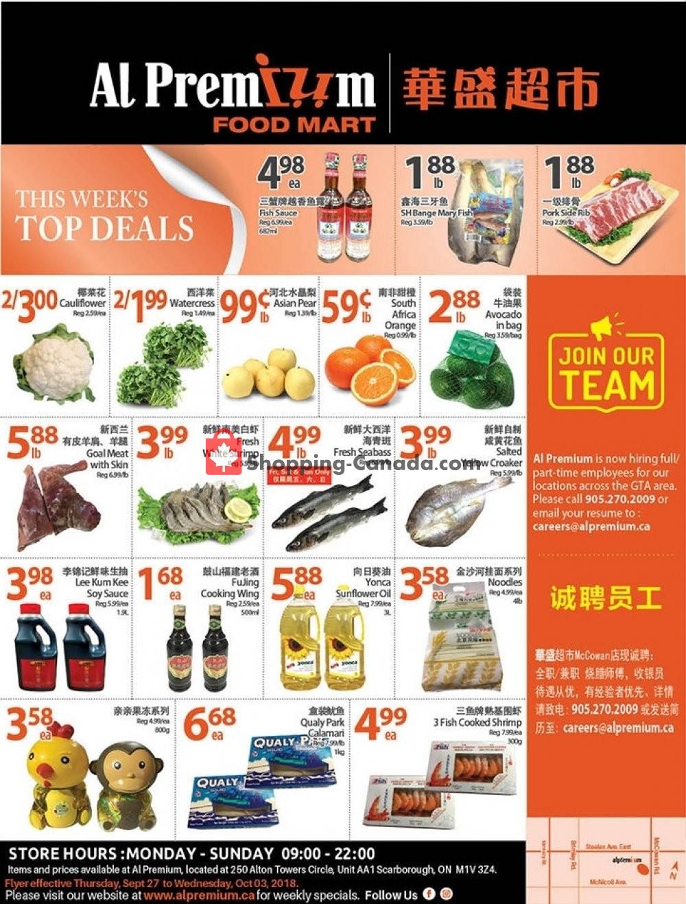 Flyer Al Premium Food Mart Canada - from Thursday September 27, 2018 to Wednesday October 3, 2018