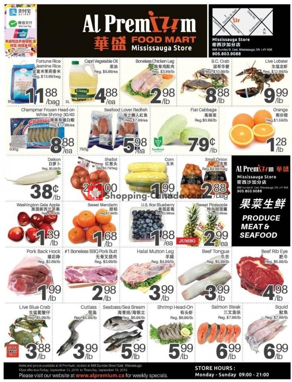 Flyer Al Premium Food Mart Canada - from Friday September 13, 2019 to Thursday September 19, 2019
