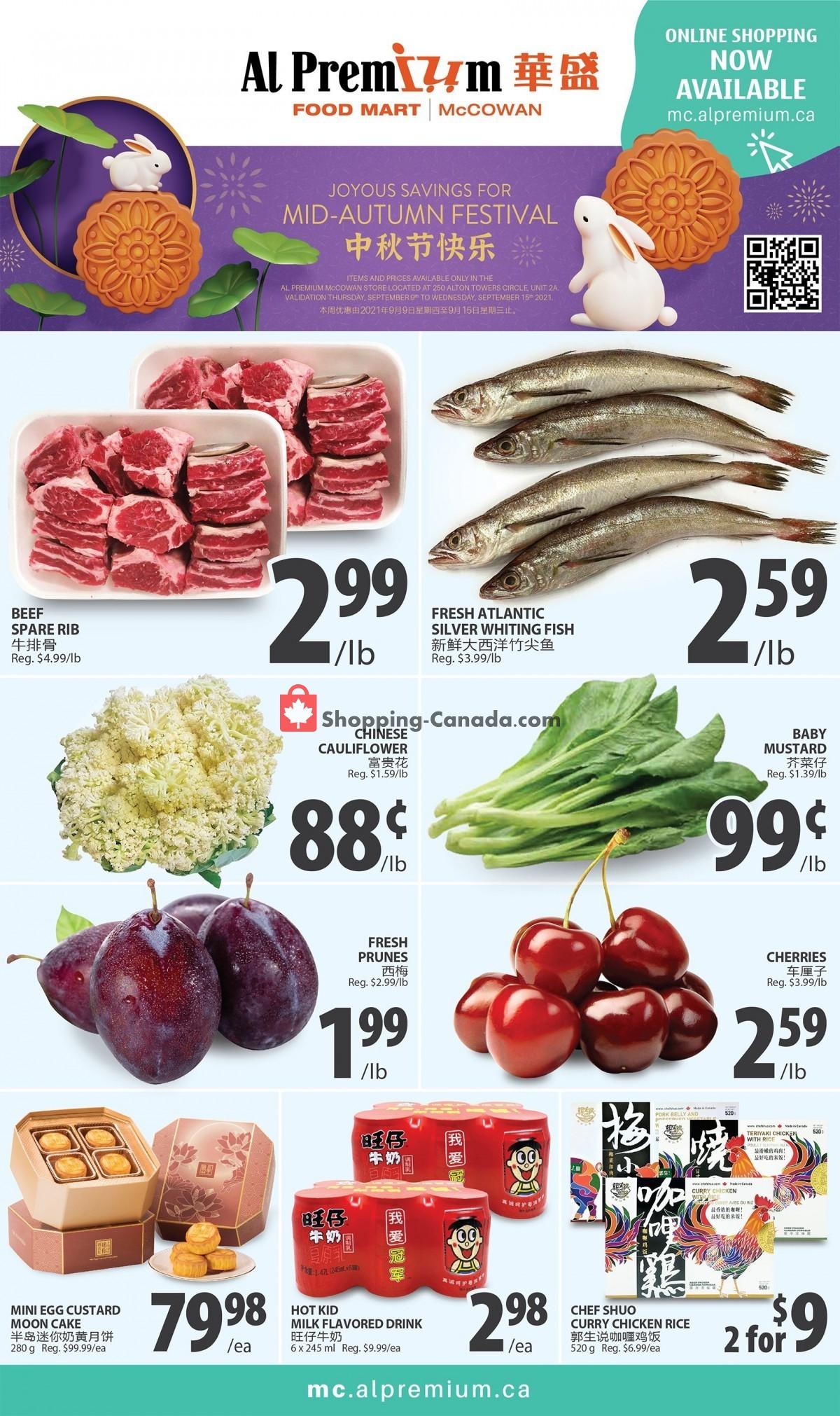 Flyer Al Premium Food Mart Canada - from Thursday September 9, 2021 to Wednesday September 15, 2021