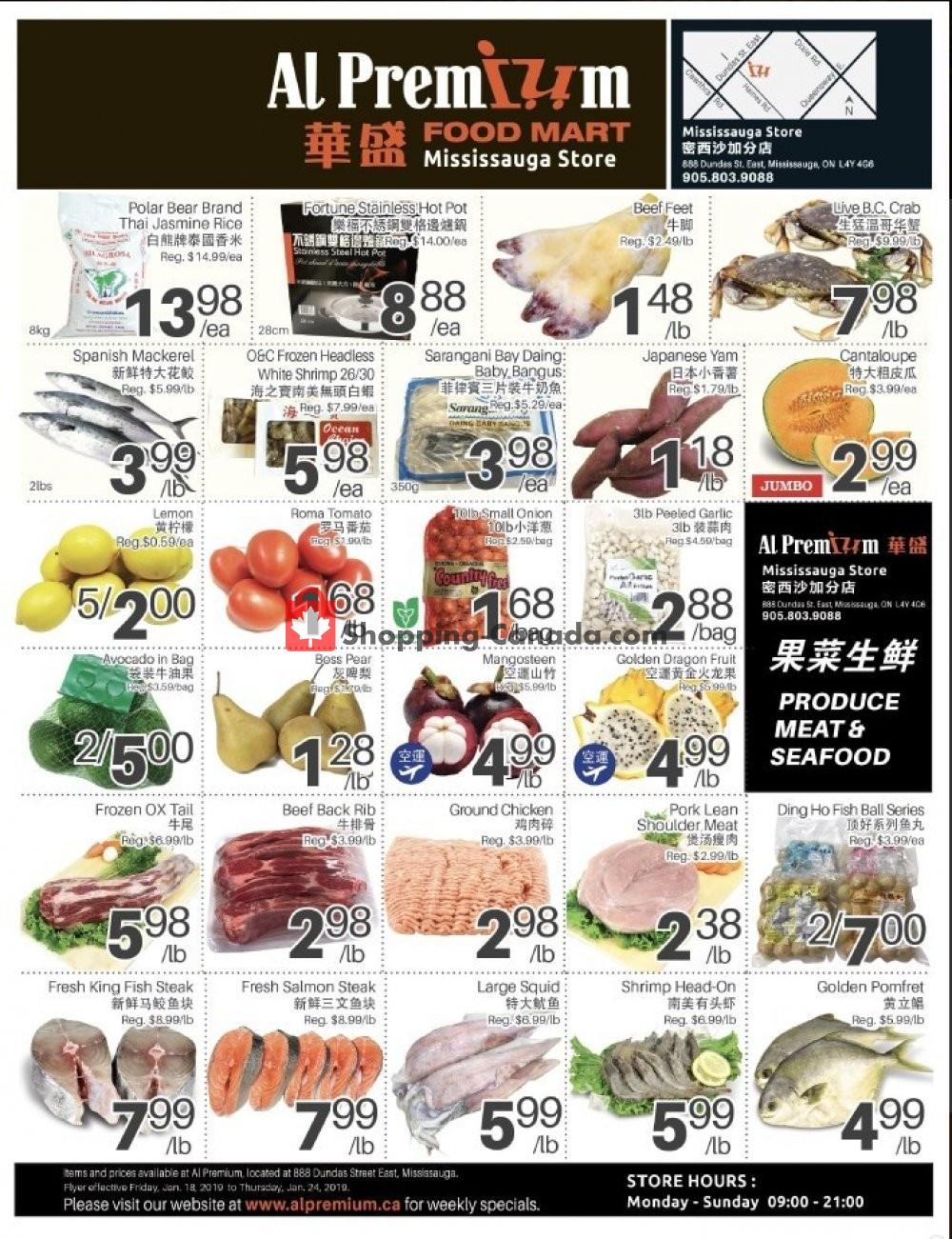 Flyer Al Premium Food Mart Canada - from Friday January 18, 2019 to Thursday January 24, 2019