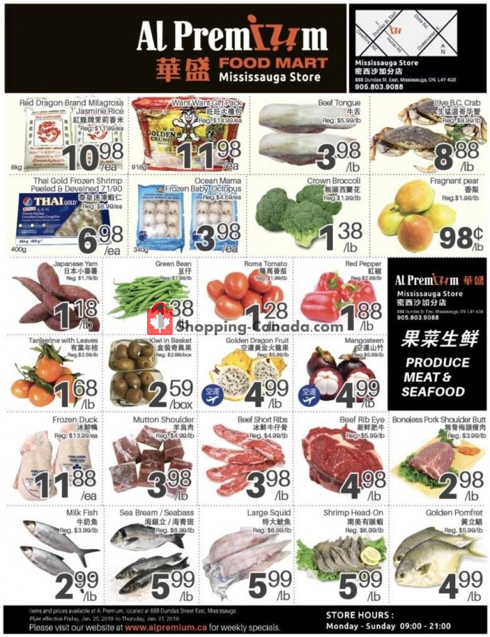 Flyer Al Premium Food Mart Canada - from Friday January 25, 2019 to Thursday January 31, 2019
