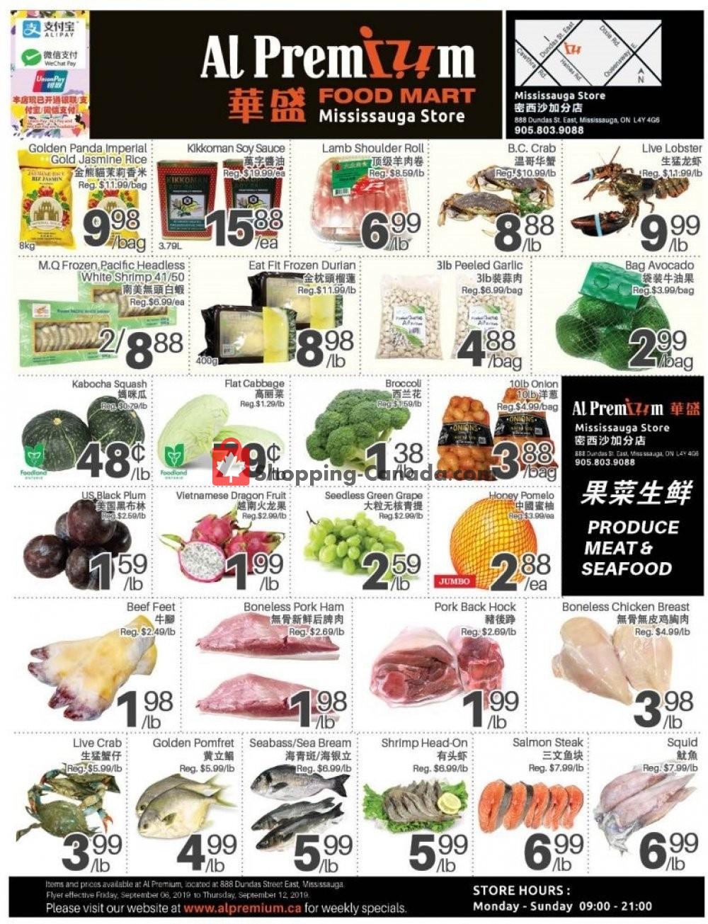 Flyer Al Premium Food Mart Canada - from Friday September 6, 2019 to Thursday September 12, 2019