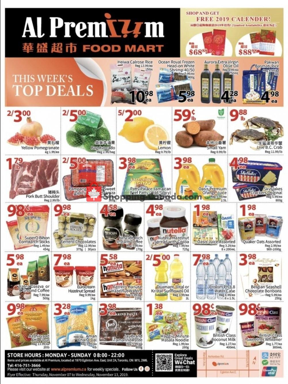 Flyer Al Premium Food Mart Canada - from Thursday November 7, 2019 to Wednesday November 13, 2019