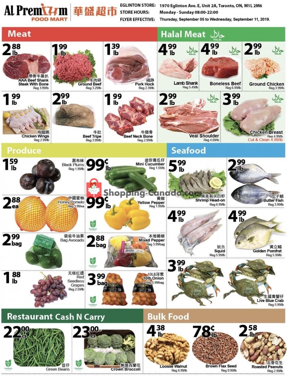 Flyer Al Premium Food Mart Canada - from Thursday September 5, 2019 to Wednesday September 11, 2019