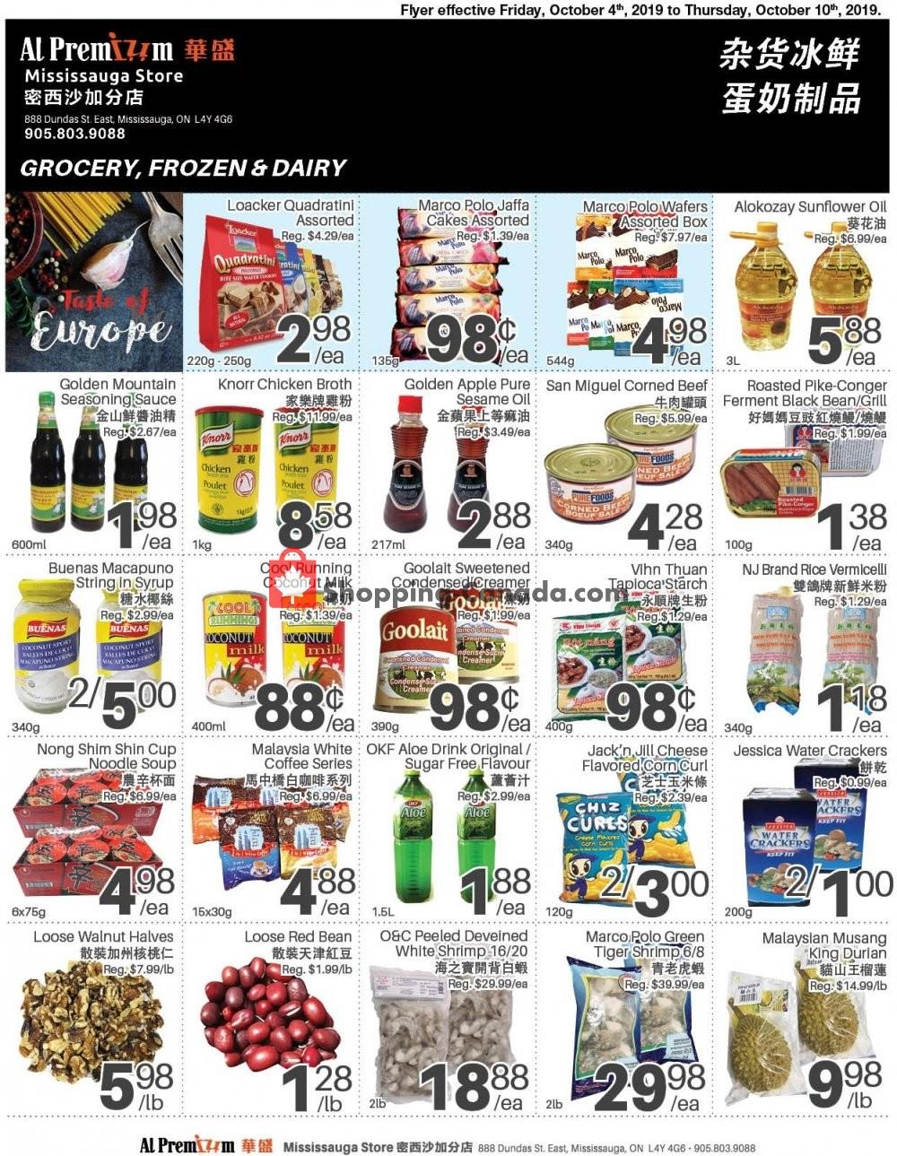 Flyer Al Premium Food Mart Canada - from Friday October 4, 2019 to Thursday October 10, 2019