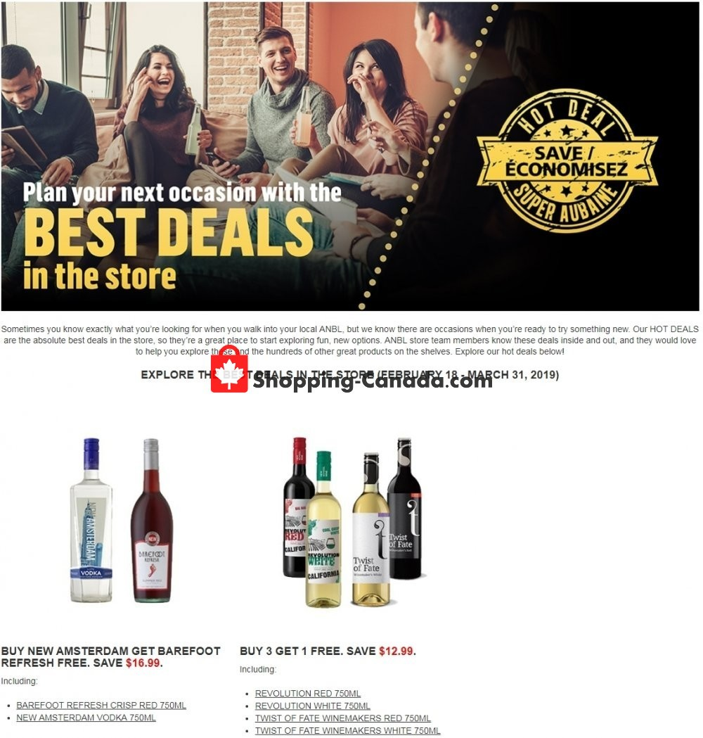 Flyer Alcool NB Liquor Canada - from Monday February 18, 2019 to Sunday March 31, 2019