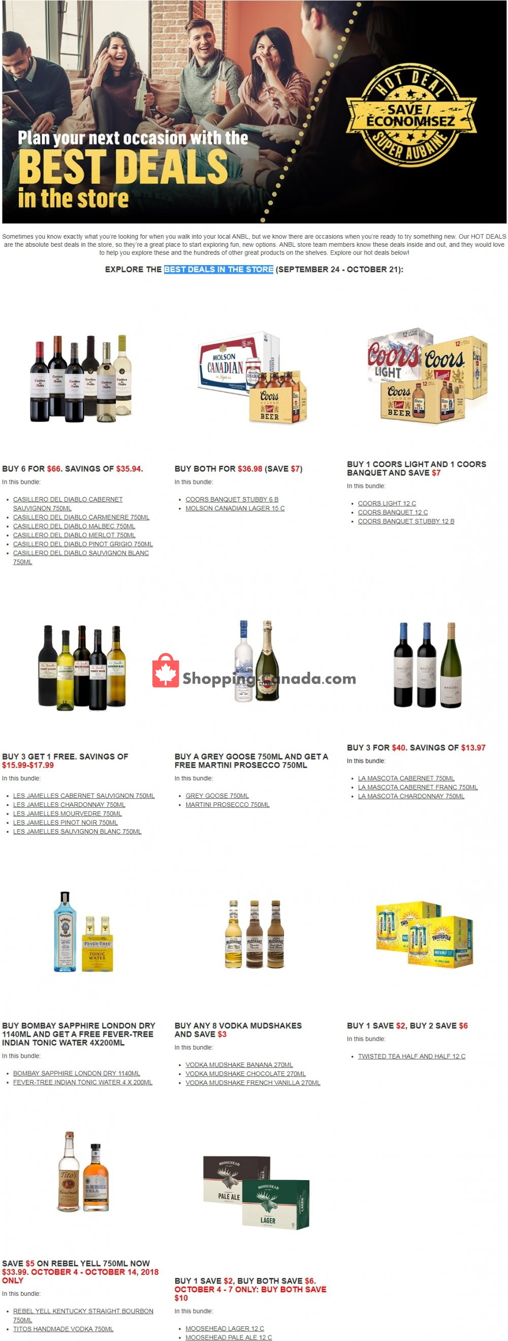 Flyer Alcool NB Liquor Canada - from Monday September 24, 2018 to Sunday October 21, 2018