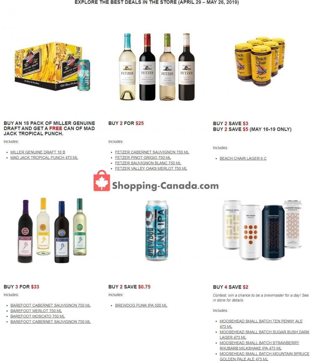 Flyer Alcool NB Liquor Canada - from Monday April 29, 2019 to Sunday May 26, 2019